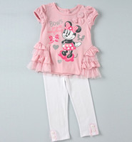Girl Summer Three Quarter Fashion Kids Clothing Sets Cartoon Minnie Mouse Set Sweet Girl 2PCS Suits Lace Brooch Sequin Glitter Bow Tops T-Shirt & Leggings Pink C2045