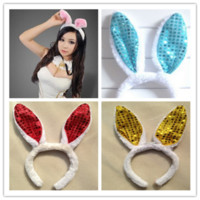 Wholesale New KAWAII women girl Bunny Rabbit Fluffy sexy Ear Headbands Plush Head Band Costume Festive Party Decorative Performing props hair jewelry