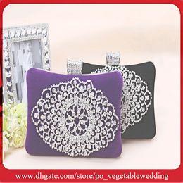 Wholesale Purple Black Crystal Beaded Luxury Velvet Prom Evening Hand Bags Hot Designer Fashion Purse