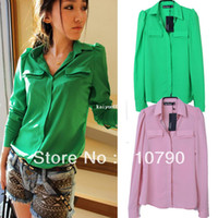 Women Polyester Pockets Free Shipping Cheap Korean Style Fall Clothes Fashion Green Pink Long Sleeve Chiffon Shirt For Women 2013 Sale