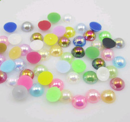 Wholesale New Half Pearl Round Bead Flat Back mm Acrylic Scrapbook for Craft FlatBack AB Nail Gem colors