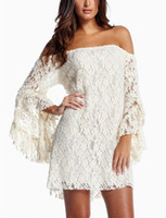 Wholesale Women Lace Half Trumpet Sleeves White Two piece Dress Sexy Fashion Dresses Clubwear For Summer Autumn