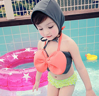 Big Bow! New Fashion Girls Strap Ruffles Dot Trunks With Hat...