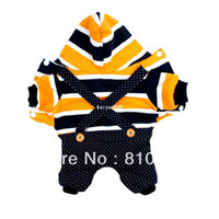Wholesale Casual Thin Soft Dog Cat Hoodie Pet Clothes Apparel Orange Stripes Coat Dog Clothing Spring Costumes With Braces Button Jumpsuit