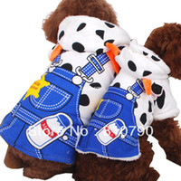 Bandanas, Bows & Accessories Dogs Clothing Casual Cute Milk Cow Soft Warm Flannel Dog Cat Clothes Apparel With Blue Pants Print Coat Dog Clothing Winter Costumes 1pcs lot