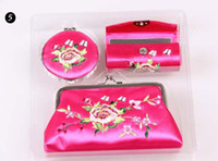Wholesale PYJ set color new Embroidery embroidery wedding bridal Three piece suit Wallet Lipstick case Mirrors