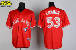 Wholesale Hot Sale Blue Jays Jerseys Blue Jays Canada Red Cool Base Jerseys Cheap Baseball Uniforms Short Sleeve Players Uniforms Comfy Jerseys