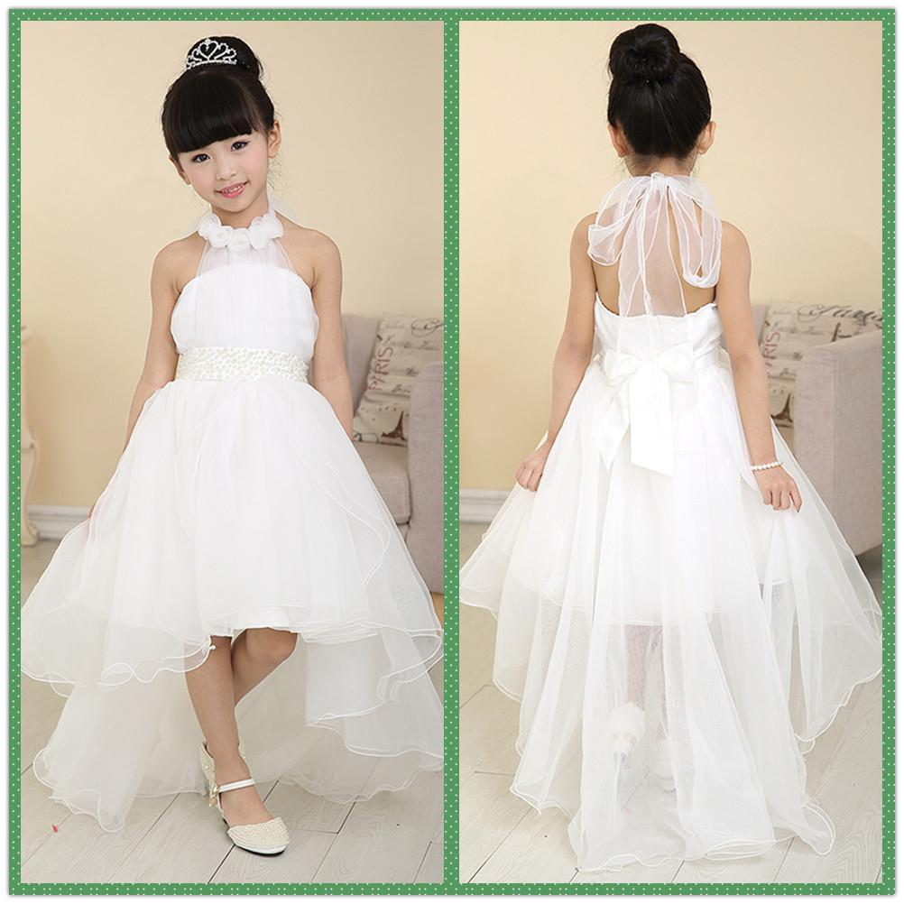 Halter Tulle High Low Flower Girl Dresses For Beach Wedding Party ...