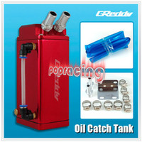 Oil Cooler Adpter alloy catch tank - Universal JDM GD Aluminium Alloy SQUARE Racing Oil Catch Tank Oil Can Series