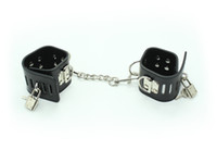 Wholesale New black Heavy duty PU leather wrist cuff and ankle cuffs with two locks Bondage gear sex toy adult novelty