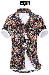 Wholesale 2014 new fashion summer korean style men s floral shirts casual slim fit shirts for men Free Colors M XXXL MMJ623