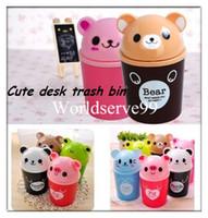 Wholesale Cute Mini Animal Waste Bin Bucket Swing Cover Garbage Trash Dustbins Container Cartoon Desk Organizer Cup Holder