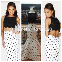 Model Pictures Scalloped Satin Real Picture Two Piece Top Lace Evening Dress 2014 Mermaid Scalloped Neck Sleeveless Sweep Train Black and White Evening Gowns