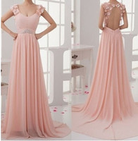 Cheap New long pink ball gowns blush PROM dresses, chiffon long dress, handmade straps scoop neckline ball gown, blush pink graduation prom