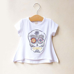Wholesale Fashion Skull Embroidered Shirts Tee Shirt Child Clothing Wear Girls Cute White T Shirts Kids Summer Short Sleeve T Shirt ChildrenGT40410