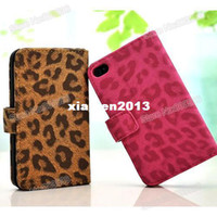 Wholesale Wallet pouch Style Girls Leopard PU leather case with card holder for Iphone g S with Gift Anti Scratch Screen Protector