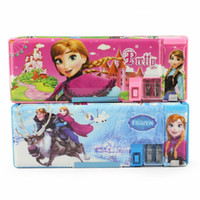 Wholesale NEW Frozen Elsa Anna Pencil Box Kids Learning Toys Learn Accessories Pen Box Pink Blue