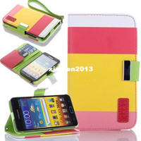 Wholesale For Samsung Galaxy Note N7000 Case Hybrid Leather Flip Pouch Wallet Stand Case Cover For Samsung GT N7000 I717 I9220 C