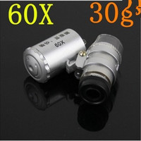 Luz Mini 60X Joyero lupa lupa Microscop LED Venta caliente del envío libre