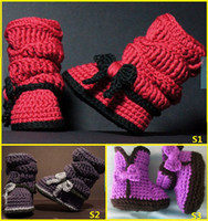 Winter Snow Boots Mid-Calf Lovely bowknot high help keep warm boots. Thickening wool boots. 9,10, 11 CM neonatal crochet shoes.cheap.baby wear.8pair 16pcs
