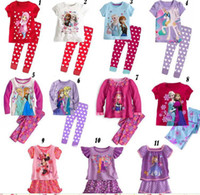 Wholesale Big Girl Frozen Elsa Anna Sofia Cartoon Mouse Pajama Set Princess Clothing Y Kids Cloth Snow Queen Children Outfit Sytles D2561