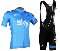 Wholesale 2014 new Sky team Cycling Wear Cycling Kit cycling jersey cycling jersey Bike Suit Road Cycling Kit bib shorts blue color and all size