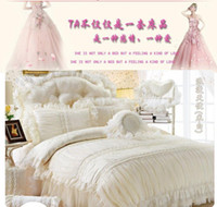 Wholesale Luxury Jacquard Lace Ruffle Princess bedding sets flowers duvet cover wedding bedclothes bed skirt bedspread cotton full queen king