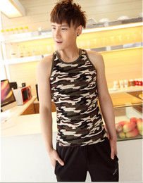 Wholesale 2014 NWT Men s Tank Summer Hot Selling Fashion Camouflage Tops Comfortable All Matching Fitted Tank Tops