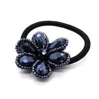 Wholesale GUST Brand Fashion Headband Rhinestone Beaded Dark Blue Flower head rope hair accessory Rubber Band For Women Girl BA045