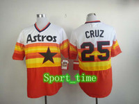 Wholesale Vintage Astros Jersey Jose Cruz Embroidery Throwback Baseball Jerseys Highest Quality Cooperstown Collection Rainbow Softball Uniforms