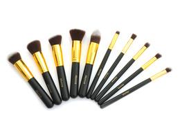 Wholesale Beautiful Black Gold Pro Foundation Blush Liquid Brush Kabuki Makeup Brush Set Facial Cosmetics Tools ZH1217ten