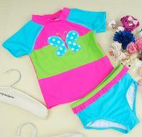 split shorts - New Arrival Baby Girls Short Sleeve Trunks Butterfly Cute Split Swimsuit Kids Butterfies Sperate Swimwear Children Beach Clothing Wear H0091