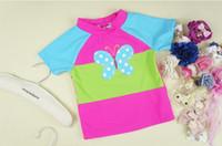 split shorts - New Arrival Girls Short Sleeve Trunks Butterfly Cute Split Swimsuit Kids Butterfies Sperate Swimwear Children Beach Clothing Wear H0091