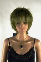 Cheap Olive Green  Women Short Wigs Best Straight 20 Women Cosplay Anime Wig