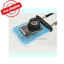 Wholesale - Hot sellingDigital Camera Waterproof Case camera waterproof bag dive bag waterproof 30M Blue White Hongkong post Free Shipping Y