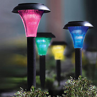 Wholesale 4pcs Solar Powered Plastic Color Changing Outdoor Landscape Path LED Garden Lamp Lights