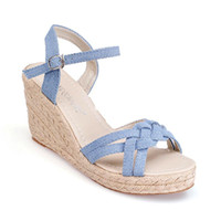 Wholesale women new fashion summer Hot sweet princess casual open toed high heeled wedges women s sandals denim fabric