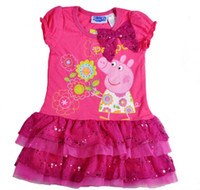 Wholesale Nova New Lovely Y Baby Girls Peppa Pig Big Bow Corsage Tutu Lace Sequins cupcake Dresses Cotton Elastic Summer Dress Rose Red C2057