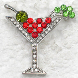 Wholesale Multicolor Crystal Rhinestone Martini Glass Brooches Cocktail glass wedding Party Pin Brooch jewelry gift C269 E