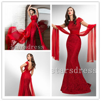 Wholesale 2014 Hot Fashion Red Lace Evening Dresses Scoop Floor length Trumpet Mermaid Short Sleeve Prom Dresses with Lace And Ribbon starsdress2296