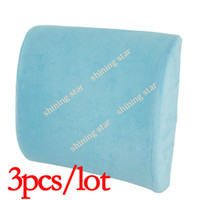 Plastic Seat Covers & Supports 9.5 cm 3pcs lot Dropshipping Memory Foam Lumbar Back car Support Cushion Pillow 30cm x 33cm x 9.5cm Solid Color Sky Blue 12728