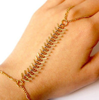 Wholesale Rib Bracelets Bangles Slave Chain Link Finger Ring Hand Harness Gold Fashion JB06051