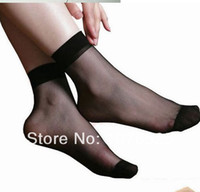 Wholesale Candy Color Women s Socks Crystal Silk Ultra thin Transparent Short Multicolor Socks pairs