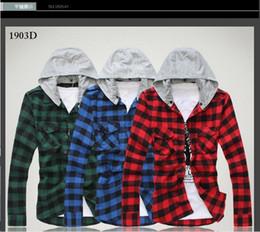 Wholesale Hot sale men s designer spring Plaid Slim Hooded long sleeved casual shirt tide man cotton hoody shirts MMJ630