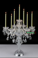 Wholesale modern desk crystal candelabra centerpieces wedding glass arms crystal candelabra can ajustable crystal table lamps candle