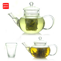 Wholesale 10 fl oz ml multi purpose Heat Resisting Clear Pyrex Glass Teapot Coffee Tea Pot Set Juice Kettle with handle and infuser and Lid