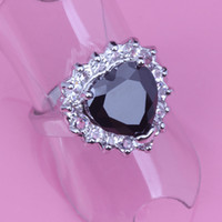 With Side Stones Women's Party Free Shipping !High Quality ! Rare Black Sapphire White Topaz Heart-Shaped Prom Party Silver Ring J343