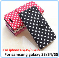 For Apple iPhone Leather For Christmas Polka Dot Dots Wallet Flip leather Case Cover With Stand For iphone 5 5G 4G 4S 5G 5S Samsung Galaxy S3 S4 S5 S3 MINI S4 MINI Free DHL