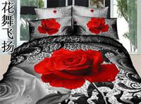 100% Cotton Home Cartoon 3d cotton 65 Red Rose bedding set for men full\queen 500TC duvet\quilt\comforter cov er flat sheet pillow 4pcs