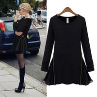 Wholesale 2014 Fashion Women Slim T shirt Long Sleeve Side Zipper Chiffon Flare Jersey Tops Gray Black Upper Garments Street Style G0431